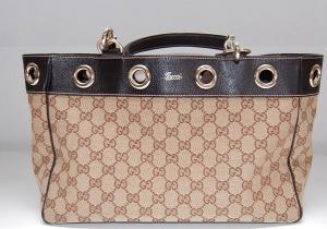 Beige vintage Gucci tas van canvas en leer